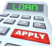 Kalkulator kredytu słowo pożyczyć pieniądze stosuje bank finansujący — Zdjęcie stockowe