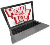 Hoe 3d woorden laptopcomputer vinden instructies online webs — Stockfoto