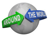Around the World Outreach Words Arrows Surround Earth — Stock Photo