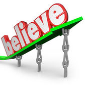 Believe Word Arrow Team Lifting Faith Uplifted Belief — Stock Photo