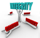 Integrity Person Lifting Word Competitive Advantage Best Leader — Stock Photo