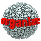 Organizar su esfera carta pensamientos sentido de desorden — Foto de Stock
