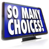So Many Choices Words TV HDTV Television Viewing Options — Stock Photo