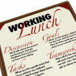 Working Lunch Menu Agenda Teamwork Setting Goals Tasks — Stock Photo