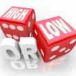 Foto Stock: High or Low Two Dice Words Minimum Maximum More Less