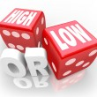 High or Low Two Dice Words Minimum Maximum More Less — Stock Photo