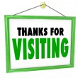 Thanks for Visiting Hanging Store Sign Customer Appreciation — Foto de Stock