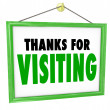 Thanks for Visiting Hanging Store Sign Customer Appreciation — Stock Photo