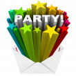Party Word Starburst Fireworks Envelope  Event Invitation — Stock Photo