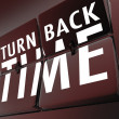Stock Photo: Turn Back Time Retro Clock Flipping Tiles Reverse to Past