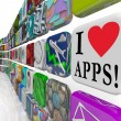 Foto Stock: I Love Apps Words Appplication Software Tile Icons Display