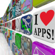 I Love Apps Words Appplication Software Tile Icons Display — Stok fotoğraf