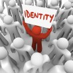 Identity Man Holding Sign Unique Brand Status Awareness — Stock Photo