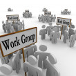 Several Work Groups of Workers Divided Tasks — Stock Photo #27672711