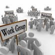 Several Work Groups of Workers Divided Tasks — Stock Photo