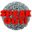Foto Stock: Speak Out Exclamation Point Mark Ball Spread Message Opinion