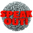 Speak Out Exclamation Point Mark Ball Spread Message Opinion — Stock Photo