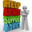 Stock Photo: Help Answers Support Advice Thinking MBeside Words