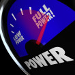 Full Power Fuel Gauge Strength Muscular Commanding Energy — Stock Photo