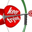 Stock Photo: Keep Trying Words Bow Arrow Aiming Bulls-Eye Target