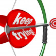 Keep Trying Words Bow Arrow Aiming Bulls-Eye Target — Stock Photo