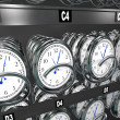 Buying Time Clocks in Snack Vending Machine — 图库照片