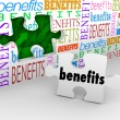 Benefits Hole in Wall Puzzle Piece Complete Unique Selling Poin — Stock Photo