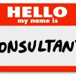 Stock Photo: Hello My Name is Consultant Nametag Sticker Badge