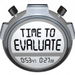 Time to Evaluate Words Stopwatch Timer Evaluation — Stock Photo