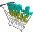 Shop-a-Holic-Word-Shopping Cart-Addicted-to-Buying-Spending-Mone — Stock Photo