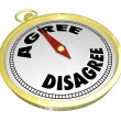 Agree Vs Disagree Words Compass Vote Consensus Decision — Stock Photo