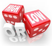 High or Low Two Dice Words Minimum Maximum More Less — Zdjęcie stockowe