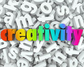 Creativity Imagination 3d Letter Word Background Creative Thinki — Stock Photo