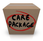 Care Package Cardboard Box Words Support Emergency Aid — Stock Photo