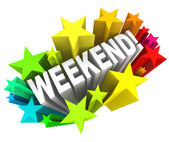 Weekend Stars Exciting Word Saturday Sunday Break — Stock Photo