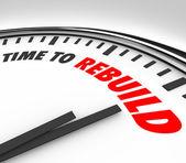 Tijd om te herbouwen klok start nieuwe opnieuw revisie vers begin — Stockfoto