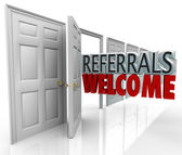 Referrals Welcome Attract New Customers Open Door — Stock Photo