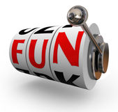 Fun Word Slot Machine Wheels Enjoyment Entertainment — Stock Photo
