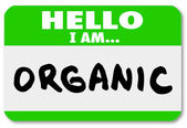Hello I am Organic Natural Food Nametag Sticker — Stock Photo