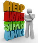 Help Answers Support Advice Thinking Man Beside Words — Stock Photo