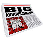 Newspaper Headline Big Announcement Huge News — Stock Photo