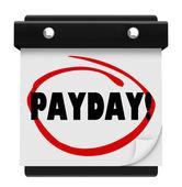 Payday Word Circled Wall Calendar Page — Stock Photo