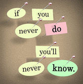 If You Never Do You'll Never Know Pushpin Saying Quote — Stock Photo