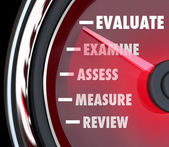 Performance Review Evaluation Speedometer Gauge — Stock Photo