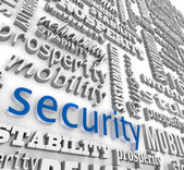 Financial Security 3D Word Background Prosperity Stability — 图库照片