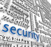 Finanzielle sicherheit 3d wort hintergrund wohlstand stabilität — Stockfoto