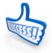 Success Word Thumb's Up Like Approval Feedback Rating — Stock Photo
