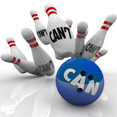 Can Vs Can't Bowling Balls Strike Overcoming Naysayers — Stock Photo