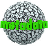 Meta Data Number Pound Hash Tag Sphere Metadata Hashtags — Stock Photo