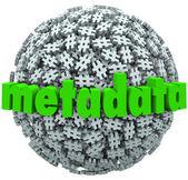 Meta Data Number Pound Hash Tag Sphere Metadata Hashtags — Stock Photo